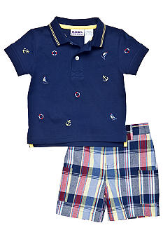 Blueberi Boulevard 2-Piece Nautical Schiffly Polo Set