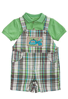 Good Lad Plaid Helicopter Shortall Set Toddler Boy