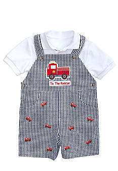 Good Lad Gingham Firetruck Shortall Set Toddler Boys