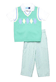 3-Piece Argyle Sweater Vest Set
