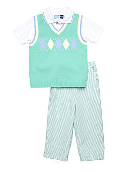 Good Lad 3-Piece Argyle Sweater Vest Set Toddler Boy