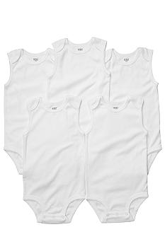 Carter's EDV Newborn 5 Pack White Sleeveless Bodysuit Set