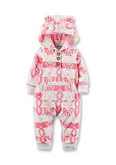 Carter's Hooded Tribal Fleece Jumpsuit