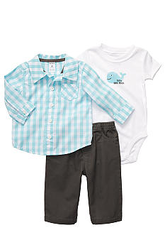 Carter's 3-Piece Check Whale Pant Set