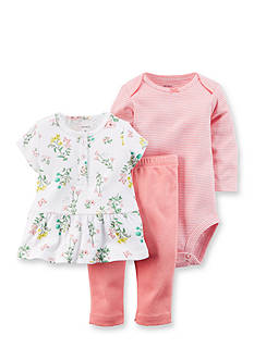 Carter's 3-Piece Floral Top, Striped Bodysuit and Pant Set