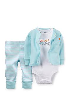 Carter's 3-Piece Printed Bodysuit, Cardigan and Striped Pants Set