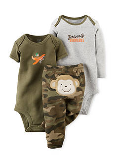 Carter's 3-Piece Printed Bodysuits and Monkey Pants Set