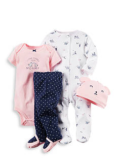Carter's 4-Piece Printed Bodysuit and Pant Set