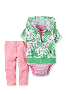Carter's 3-Piece Leaf Print Cardigan, Bodysuit and Pants Set