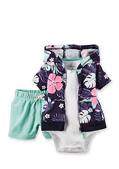 Carter's 3-Piece Floral Cardigan and Short Set