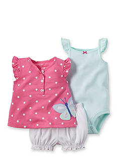 Carter's 3-Piece Dot Butterfly Top, Bodysuit and Bubble Short Set