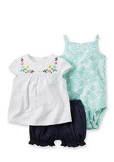 Carter's 3-Piece Printed Bodysuit, Embroidered Top, and Bubble Short Set