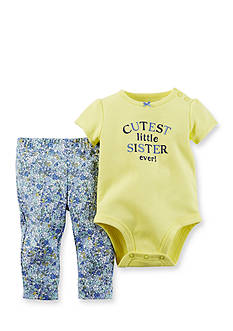 Carter's 2-Piece Embroidered 'Cutest Little Sister Ever' Bodysuit and Floral Pant Set