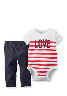 Carter's 2-Piece Stripe 'Love' Bodysuit and Pants Set