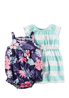 Carter's 2-Pack Tropical Romper and Strip Dress Set