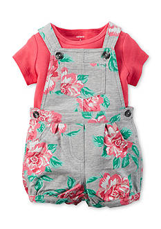 Carter's 2-Piece Solid Tee and Floral Shortall Set