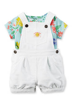 Carter's 2-Piece Tropical Print Tee and Solid Overall Set