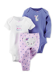 Carter's 3-Piece Printed Bodysuits and Mouse Heart Pant Set