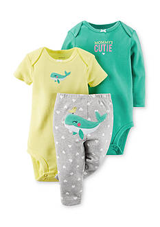 Carter's 3-Piece Printed Bodysuits and Whale Pant Set
