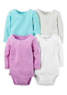 Carter's 4-Pack Long-Sleeve Solid Bodysuits