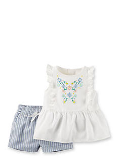 Carter's 2-Piece Floral Embroidered Shirt and Short Set