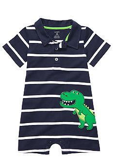 Carter's Stripe T-Rex Polo Romper