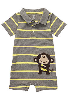 Carter's Stripe Monkey Polo Romper