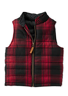 Carter's Toddler Red Black Plaid Flannel Puffer Vest