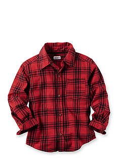 Carter's Toddler Red Black Plaid Long Sleeve Flannel Button Top