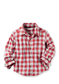 Carter's Toddler Long Sleeve Red White Plaid Flannel Shirt