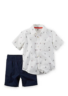 Carter's 2-Piece Boat Print Woven Shirt and Shorts Set Toddler Boys