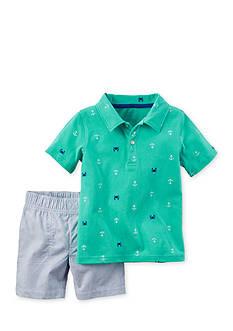 Carter's 2-Piece Nautical Print Shirt and Stripe Shorts Set Toddler Boys
