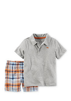 Carter's 2-Piece Polo Shirt and Plaid Shorts Set Toddler Boys