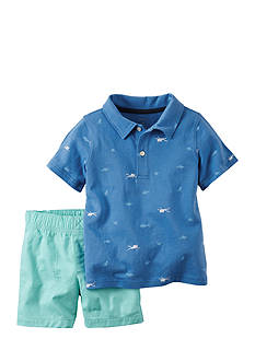 Carter's 2-Piece Printed Polo Shirt and Solid Shorts Set Toddler Boys