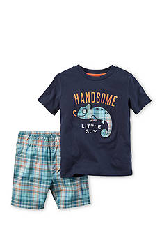 Carter's 2-Piece Chameleon Tee and Plaid Short Set Toddler Boys