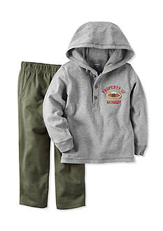 Carter's Toddler 2-Piece Gray Knit Hoodie & Olive Terry Pant Set