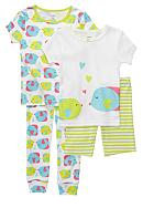 Carter's® 4-Piece Fish Kisses PJ Set Toddler Girls