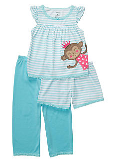 Carter's 3-Piece Monkey Princess PJ Set Toddler Girls