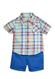 Nursery Rhyme 2-Piece Plaid Shirt and Short Set
