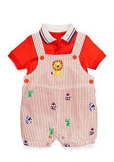 Nursery Rhyme 2-Piece Polo Shirt and Animal Shortall Set