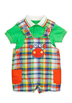 Nursery Rhyme 2-Piece Plaid Crab Shortall and Polo Set