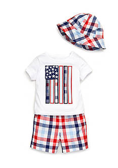 Nursery Rhyme 3-Piece Flag Tee, Plaid Short, and Hat Set