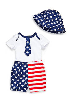 Nursery Rhyme 3-Piece American Flag Shorts Set