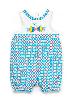 Nursery Rhyme Geo Print Kissing-Fish Romper