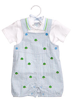 Nursery Rhyme 2-Piece Seersucker Turtle Shortall Set