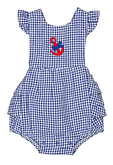 Nursery Rhyme Gingham Anchor Bow Sunsuit