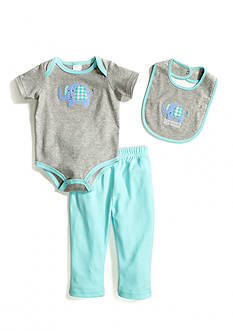 Nursery Rhyme® 3-Piece Elephant Bodysuit Pant Set with Bib