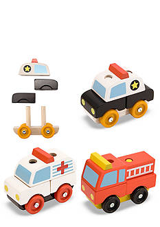 Melissa & Doug Wooden Stacking Emergency Vehicles