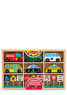 Melissa & Doug Wooden Vehicles and Traffic Signs Play Set - Online Only