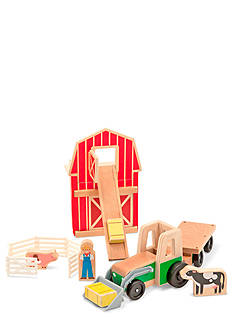 Melissa & Doug Whittle World 9-Piece Wooden Farm & Tractor Set - Online Only